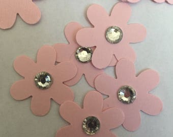 100 flowers with crystal center pink