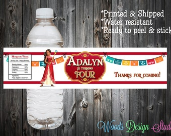 Custom // Printed & Shipped // Elena of Avalor Birthday Party Water Bottle Labels // Wraps // Water Resistant // Personalized