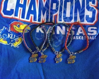 Kansas Jayhawks Braided Leather Charm Bracelet