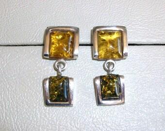 Sterling silver earrings. Amber stones.