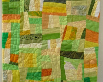 ECOFiber Art Wall Hanging, contemporary art, fabric collage, shades of yellows, greens, oranges create this handmade OOAK wall quilt