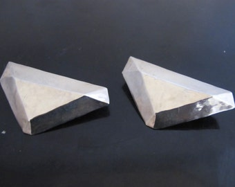 Large CLIFTON NICHOLSON Sterling Silver GEOMETRIC Modernist Clip-On Earrings