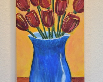 Red Tulips in Blue Vase 10x20 original acrylic on canvas