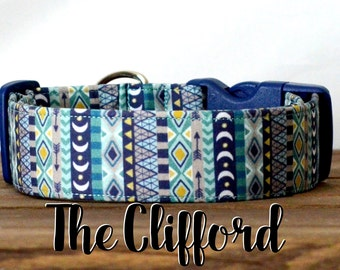 "Multi-color Blue Aztec Inspired Dog Collar ""The Clifford"""