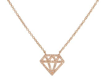 Beautiful Diamond Shape 14k Gold Diamond Necklace
