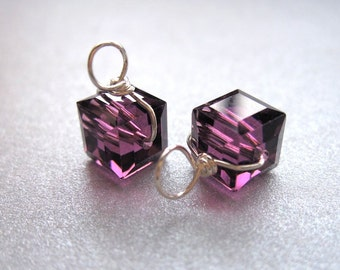 Purple AMETHYST interchangeable earrings drops pair, Genuine Swarovski Crystal 6mm cube charms wire wrapped dangles, gold silver rose gold