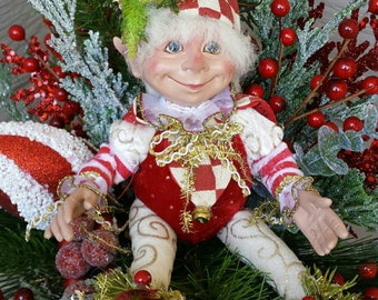 Christmas sleigh arrangement,Christmas floral arrangement,Christmas decor,Christmas Elf, Christmas  Elf decor,Christmas holly Elf, Christmas