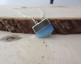 Opalite sterling silver chain necklace, Opalite pendant necklace. gift for her