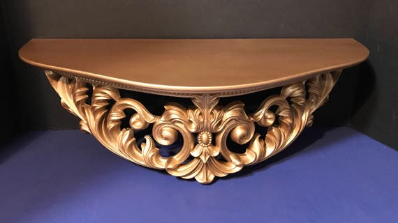 Ornate Wall Shelf Table Gold Wall Hanging By T.M.C 1960s