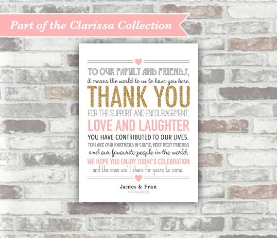 PRINTABLE Digital Files - Clarissa Collection - Personalised Wedding Thank You Sign Place Setting Decor Personalized - Gold Glitter and Pink