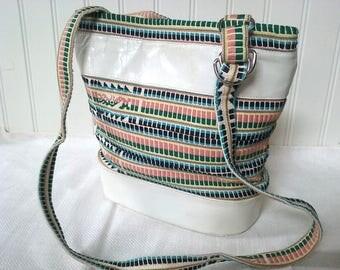 White leather boho bag, festival tote, shoulder bag, white, woven, ethnic, festival clothing, summer purse