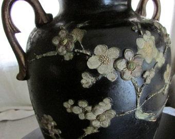 AnTique Late 19thC Asian Dogwood Gilt Vase ~ LARGE URN Flower VASE