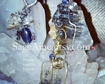 SageAine : Petalite with Sapphire or Kyanite Pendants, High vibration, Angel Stone, Reiki Charged, Crystal Healing