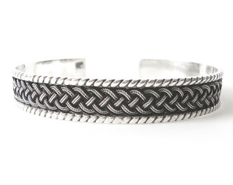 Mens Sterling Silver Cuff Bracelet With Braid dDesign