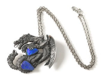 Sterling Silver Winged Dragon and Serpent Pendant Set with Man Made Blue Opals on Sterling Silver Chain