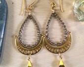Golden Moon Phase Teardrop Earrings