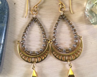 Golden Moon Phase Teardrop Earrings