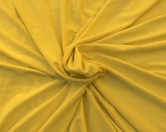 Modal Cotton Spandex Fabric Jersey Knit Stretch by the Yard Yellow Mustard 1/11