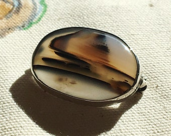 Vintage Mid century Moss Agate Brooch - Dendritic Agate - Picture Agate & Sterling Silver Pin