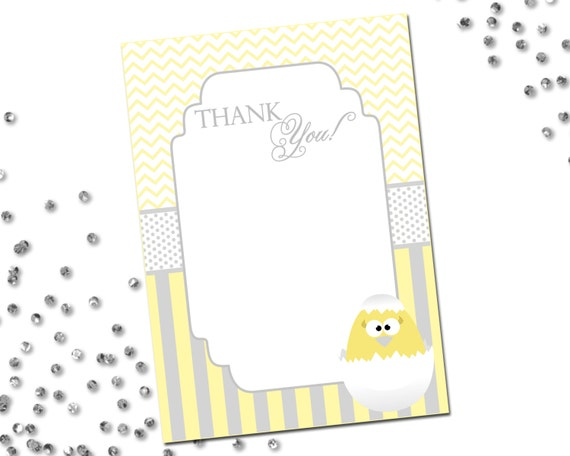 thank you note about to hatch easter theme grey and yellow stripes and chevron stripes. Black Bedroom Furniture Sets. Home Design Ideas