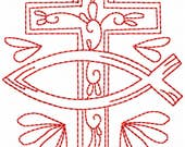 Redwork Faith & Devotions No. 4 Machine Embroidery Design/Christian Religious Pattern - 6 Sizes - Cross Fish Religion