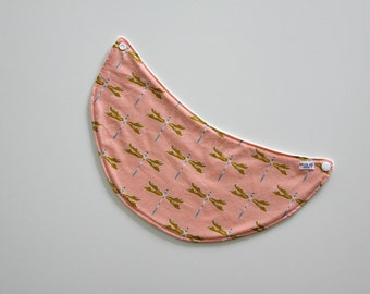 Baby Drool Bib, Pink Dragonflies Cotton with Organic Bamboo Terry