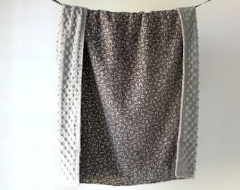 Baby Blanket, Gray Alphabet with Gray Minky Dot