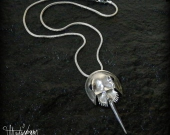 Sterling Silver Horseshoe Crab Necklace / Brooch