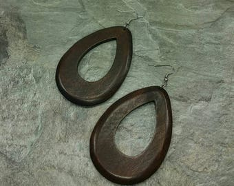 Dark Brown Wood Earrings- Natural Wooden Drop Style - Exotic Design - Coffee Color