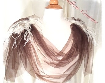 Coffee and Cream Amazing Grace shrug with Tulle and feather cowl neck Shoulder Adornment