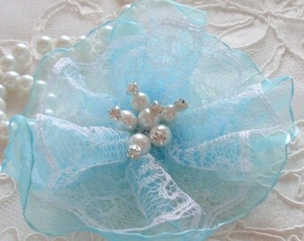 Lace Flowers With Rhinestone Pearl (4 inches) In Blue MY-601-03 Ready To Ship