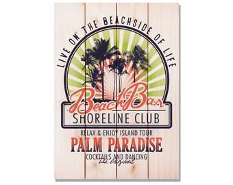 14x20 Beach Bar Club Print, Gift Idea, Coastal Home Decor, READY TO HANG, Wall Decoration (WBBC1420)