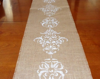 Burlap Table Runner,Damask Design Runner,Wedding Runner,Handpainted Runner, 48x13 Runner,Decorative Table Runner