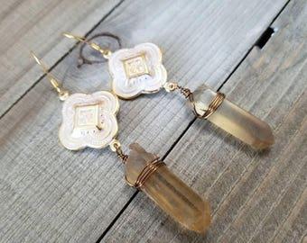 Smoky quartz earrings - boho quartz earrings - quartz stick - moroccan earrings - smoky quartz jewelry - boho gold earrings - quartz crystal