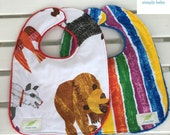 "Toddler Bibs with Minky Backing ""Brown Bear"" Set of 2"
