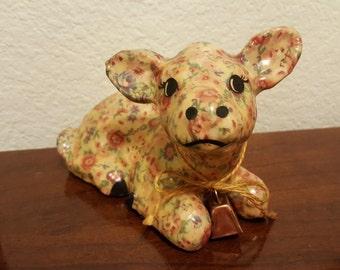 Floral Pattern Calf Figurine Wearing Cowbell