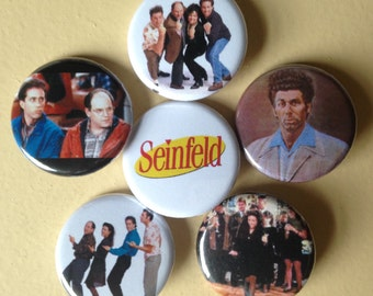 "Seinfeld pin back buttons 1.25"" set of 6"