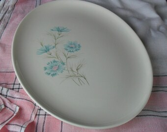 Vintage Boutonniere Oval Serving Platter * Aqua Carnation * Blue Bachelor Button * Set of 4