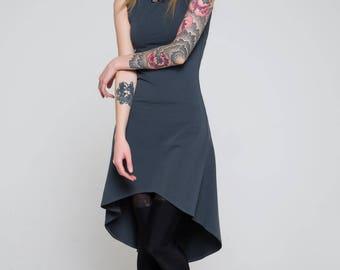 Virgo mini dress with asymmetric bottom, Удлиненное платье с ассиметричным низом
