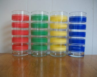 Vintage 4 pc Set Libbey Libby Primary Colors Red Blue Yellow Green Wide Stripes Striped 12oz Tumblers Glasses Colorful Summer Kitchen Decor