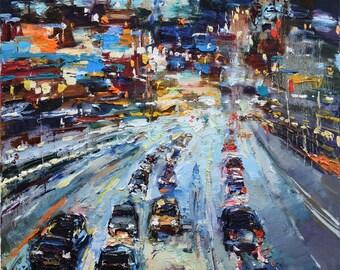 "Night City Street #2 - Original urban landscape painting 23.6"" x 31.5"" Fine art by Valiulina"