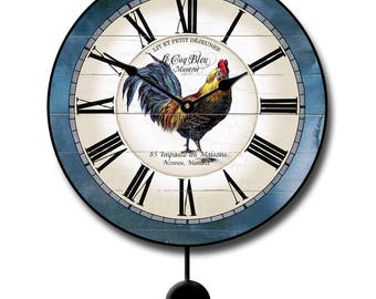 Carolina Blue Rooster Pendulum Wall Clock