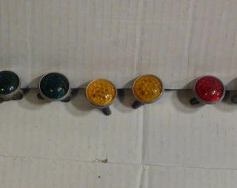 "Vintage 1940'-1950's ""Red/Yellow/Green"" Antique Autos-Motorcycle-Bicycle Glass Reflectors With Wing Nuts And Springs"