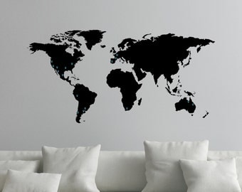 World Map Decal for Wall with Map Markers 0050