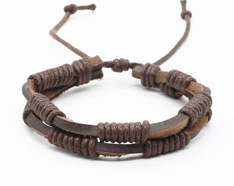 Handmade Brown Genuine Leather Adjustable Bracelet.