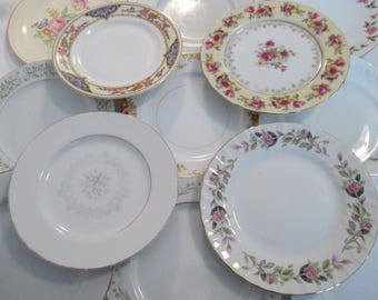 Vintage Mismatched China Dessert / Bread Plates W/ Imperfections  - Set of 15
