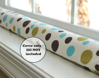extra long or short polka dot door draft stopper sleeve - custom length empty cover - brown, blue, green dots - window dodger - wind guard