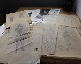 Vintage Retro Fashion Sketches