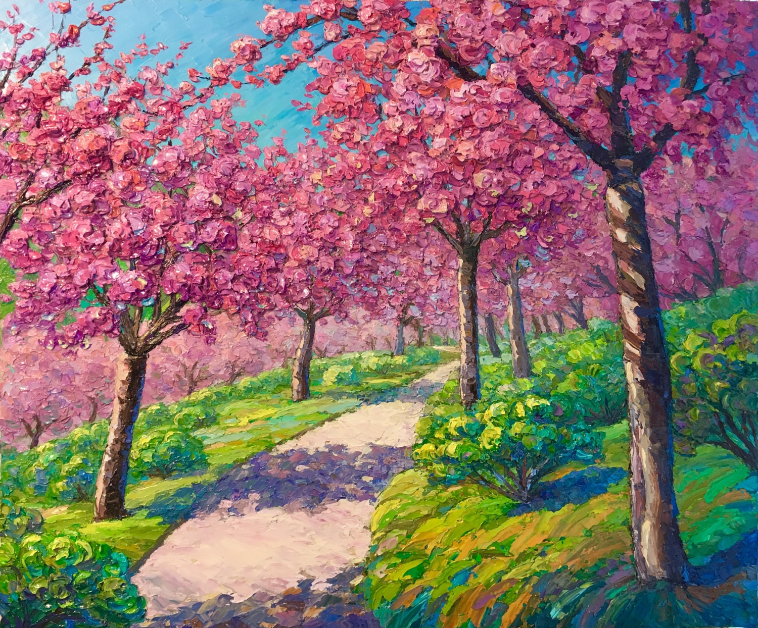 simple japanese garden cherry blossom paintings celebration original oil impasto painting balboa park pink landscape p throughout inspiration