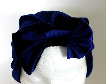 Blue Turban, Removable Bow Headband, Removable Bow Turban, Bow Turban Headband, Ladies Bow Hat, Ladies Removable Bow Turban Headband